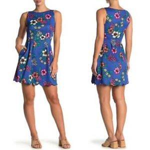Vince Camuto Floral Scallop Trim Fit & Flare Dress
